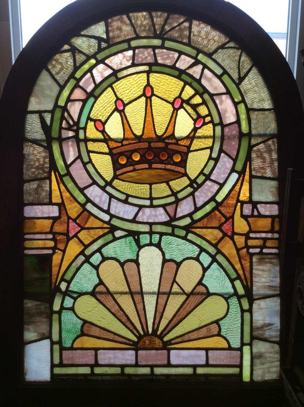 "Antique ""Crown"" stained glass window"