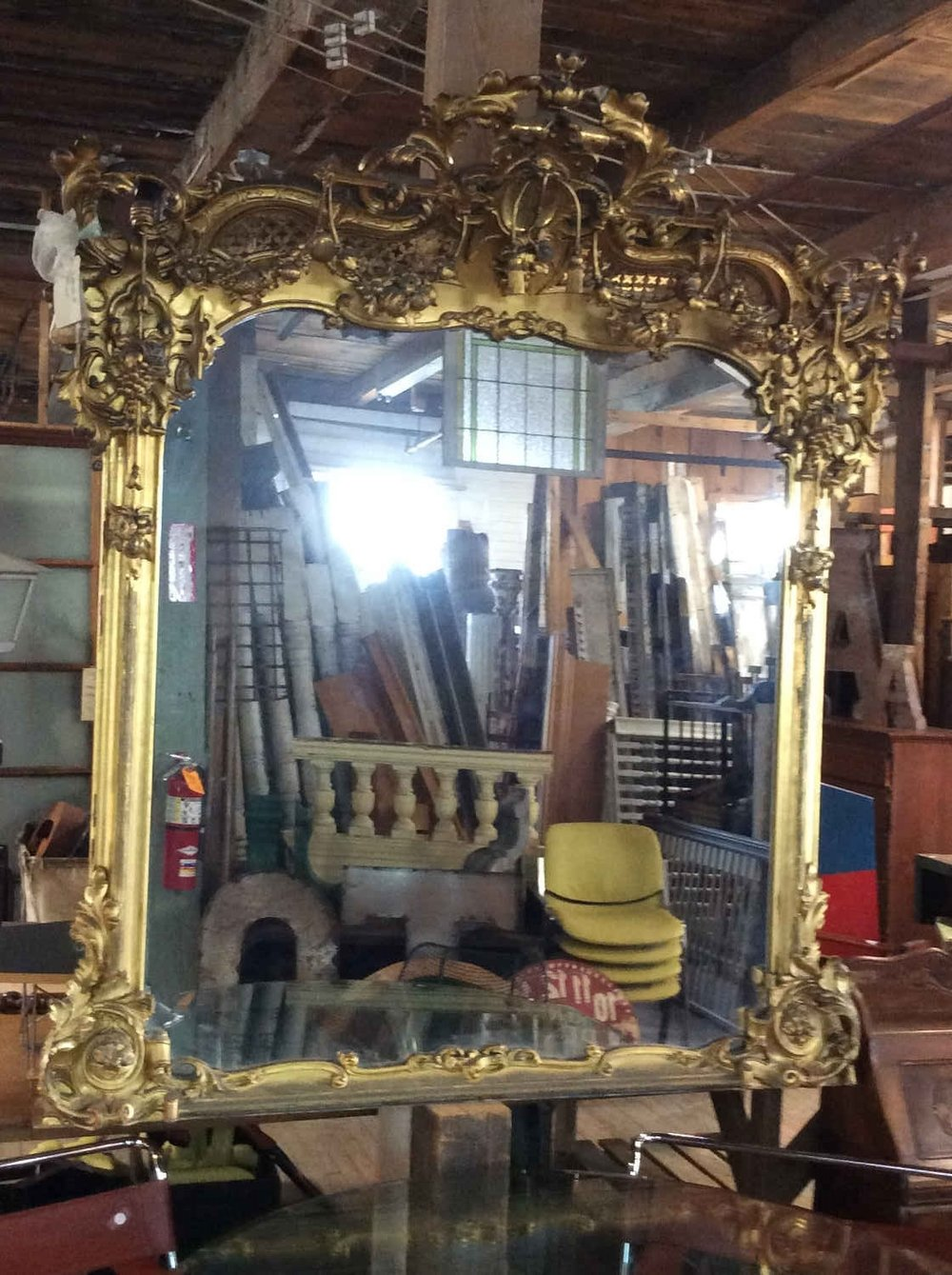 French Victorian Gilded Over Mantel Mirror