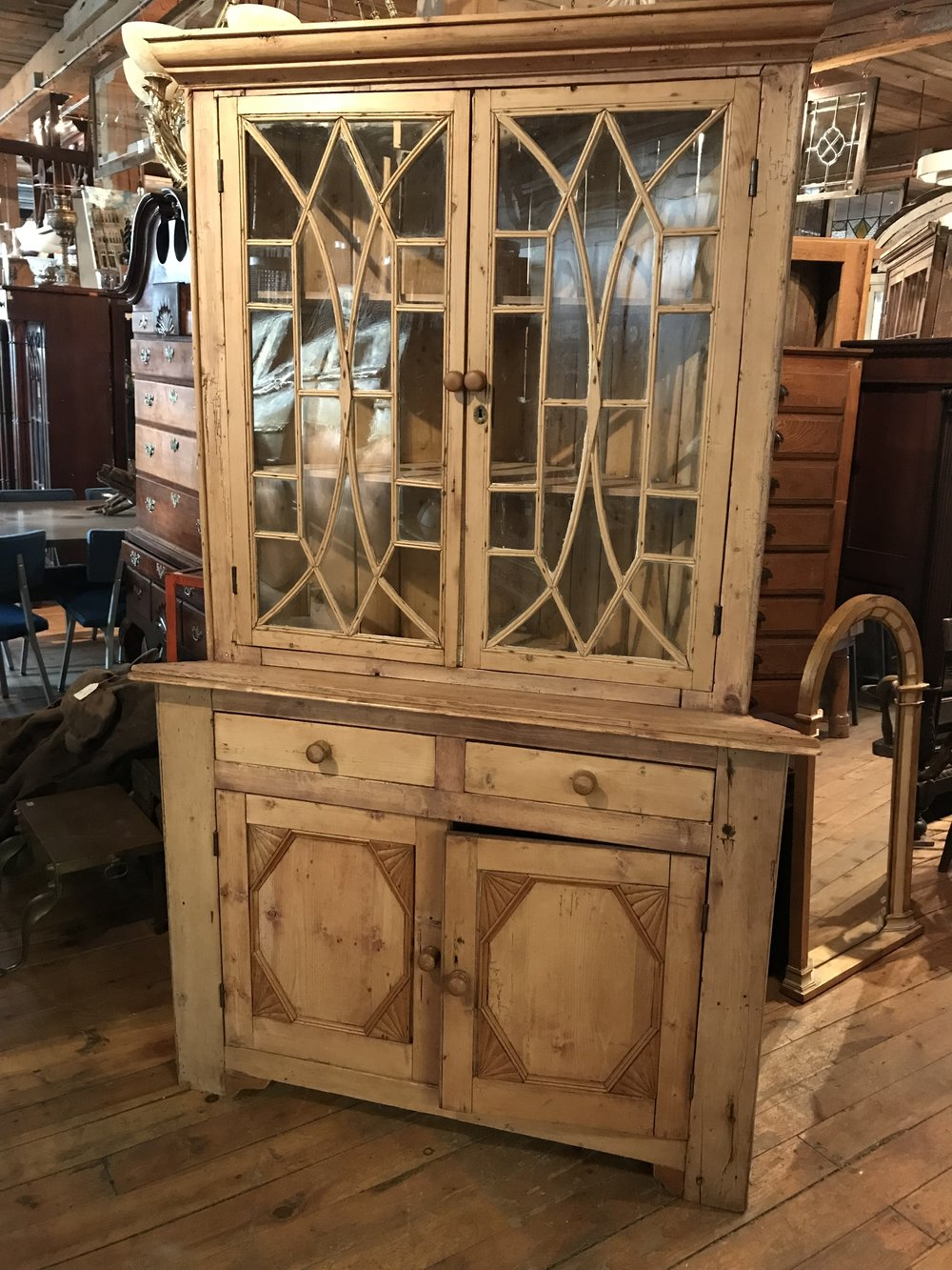 Antique European pine corner cupboard