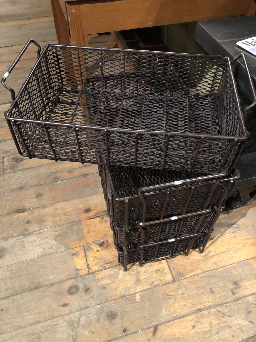 "In love with the size of these vintage industrial sorting baskets! Great stacking storage option. All cleaned and clear coated and ready to go! 22 1/4"" long including handles  x 13 1/2"" wide x 5 1/4"" deep. Multiples available.        $55. each"