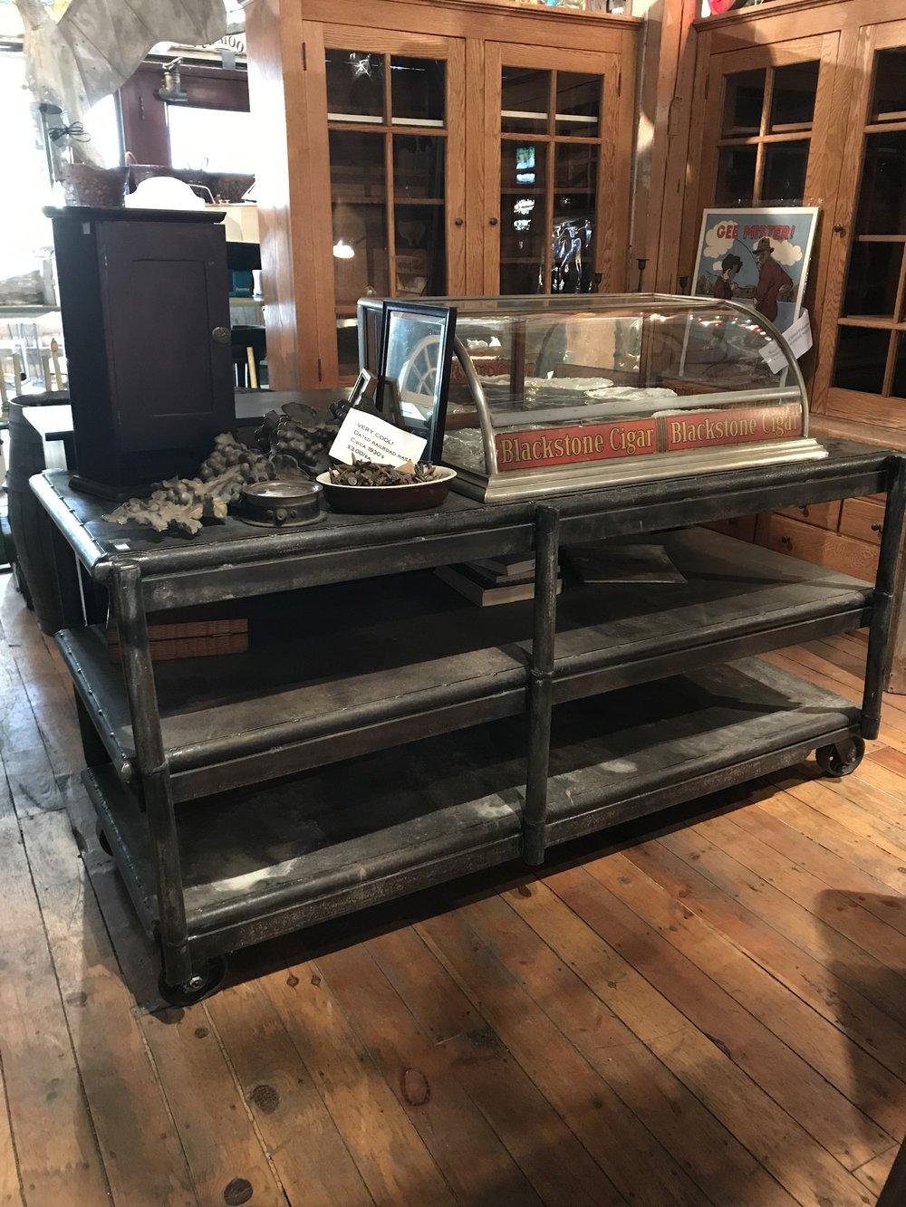 Antique Rustic Steel Kitchen Island