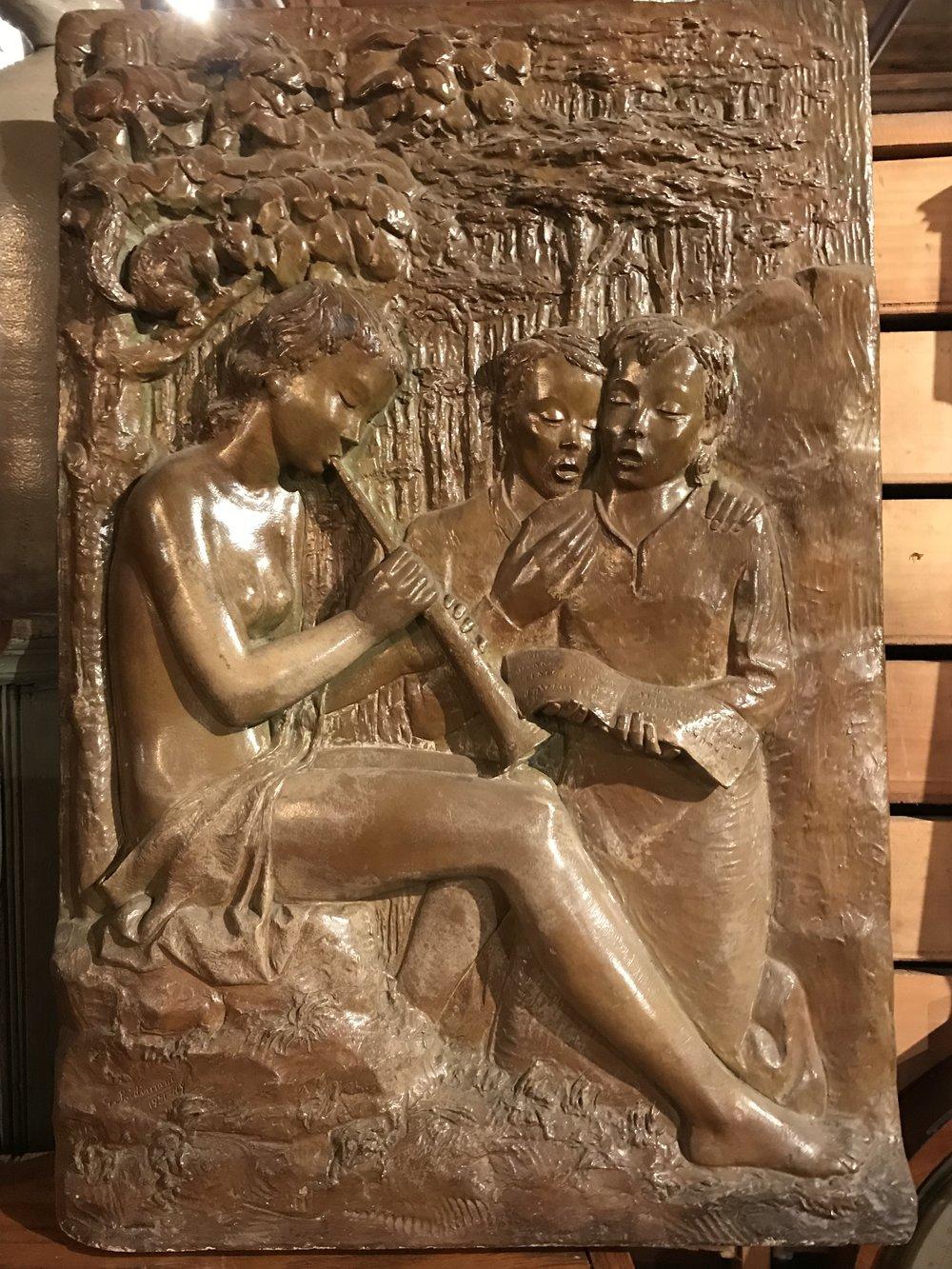 Mid Century Plaster Bas Relief