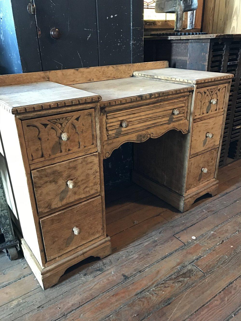 Antique Oak desk or Ladies vanity