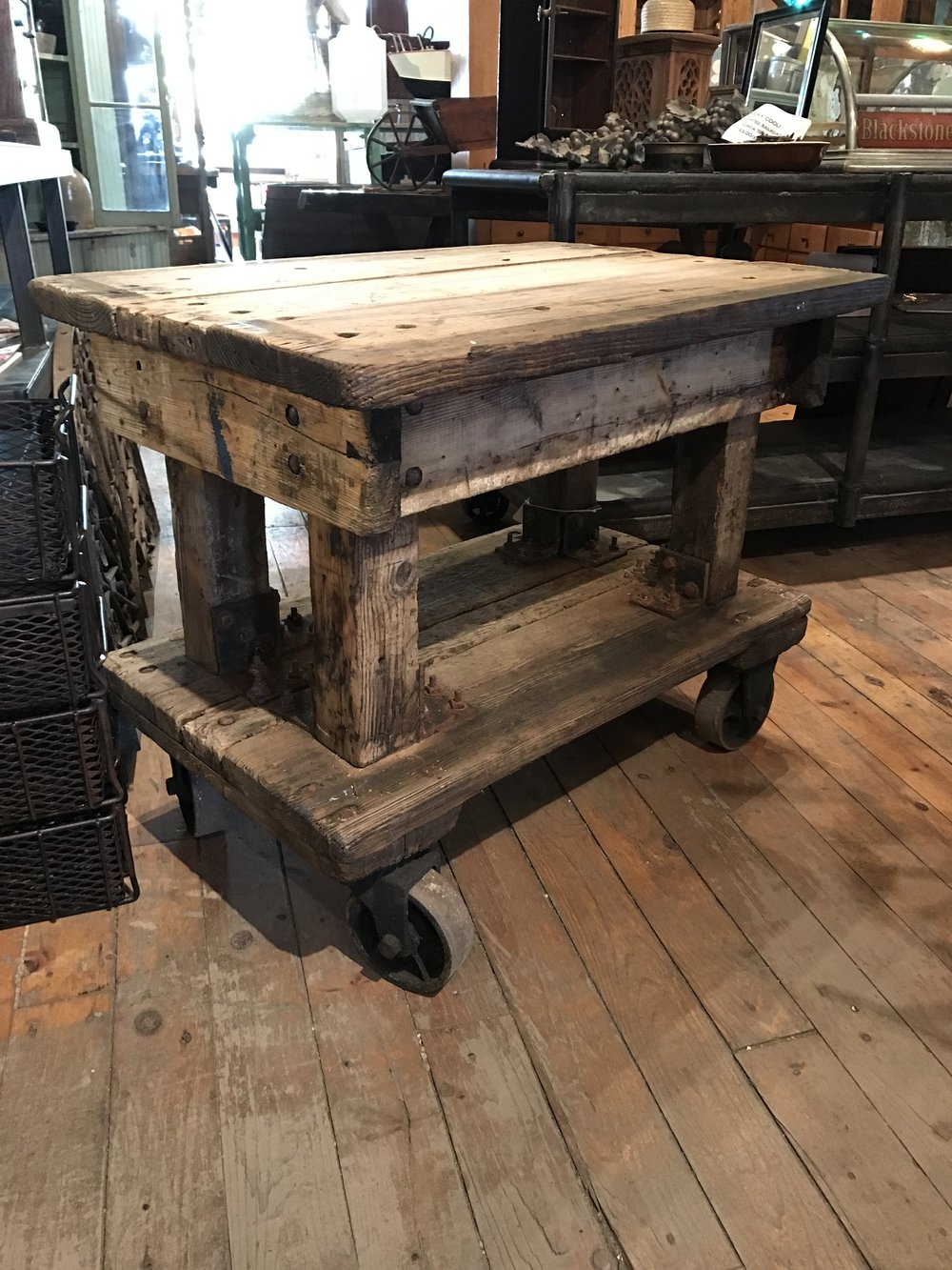 Rustic Industrial Wooden Cart with Rollers