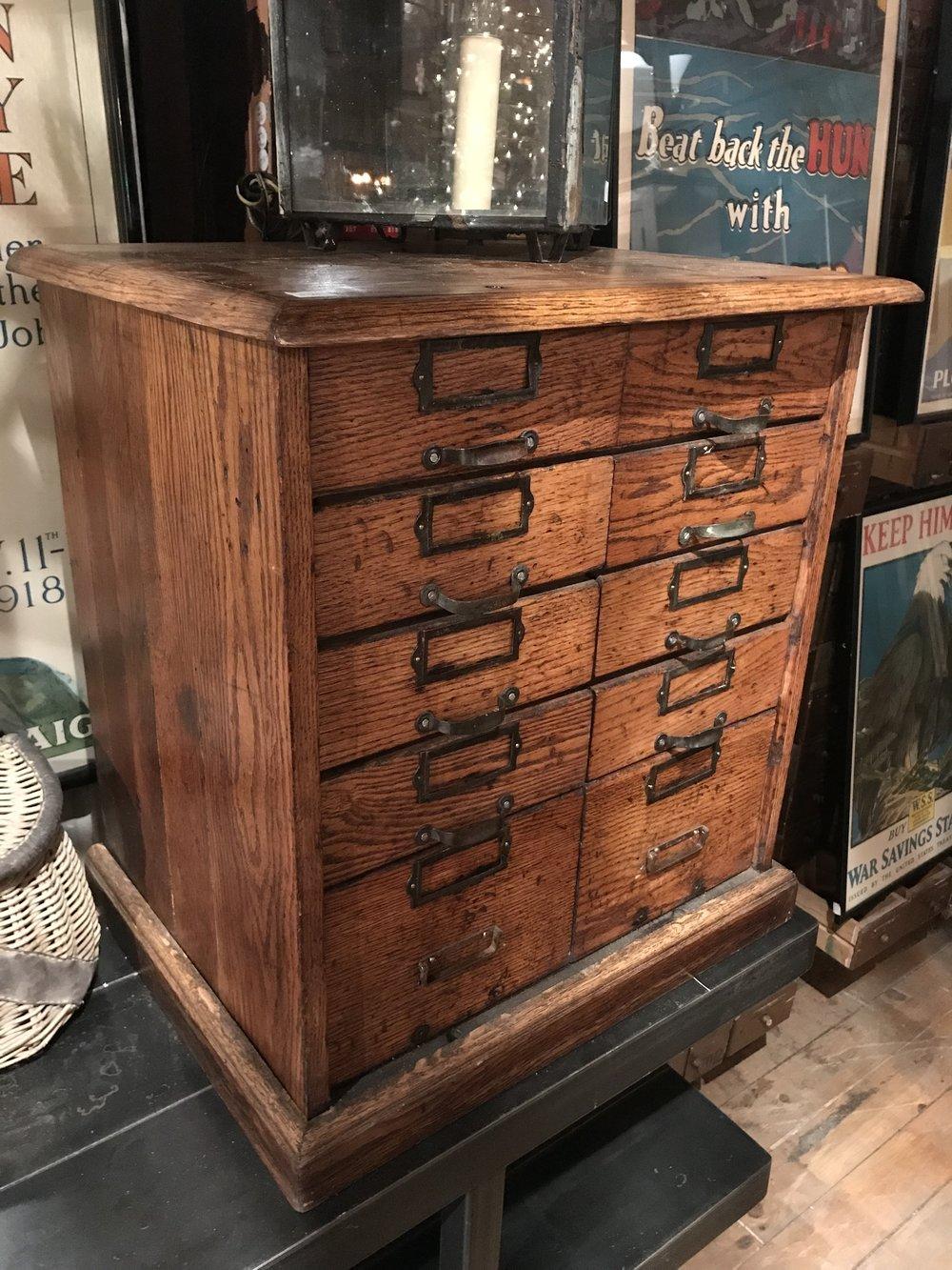 Small Antique Oak Filing Cabinet