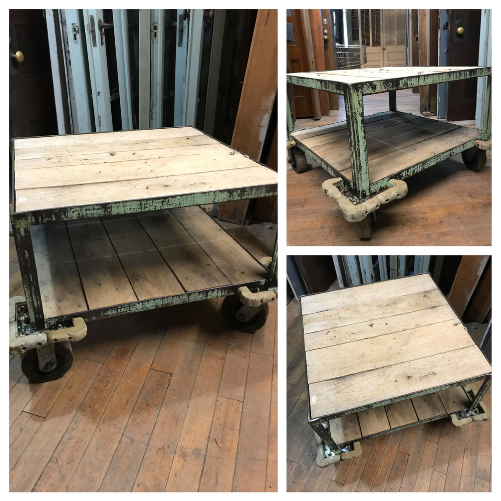 Metal and Wood Industrial Cart