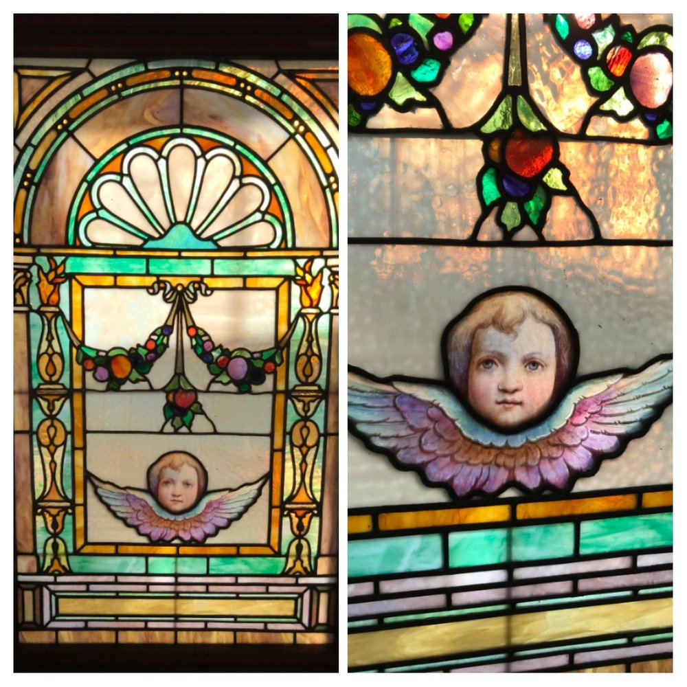 Exceptional Antique Stained Glass Cherub Window