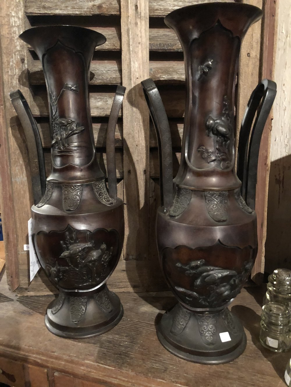 Pair  Japanese Meiji Period Bronze Vases