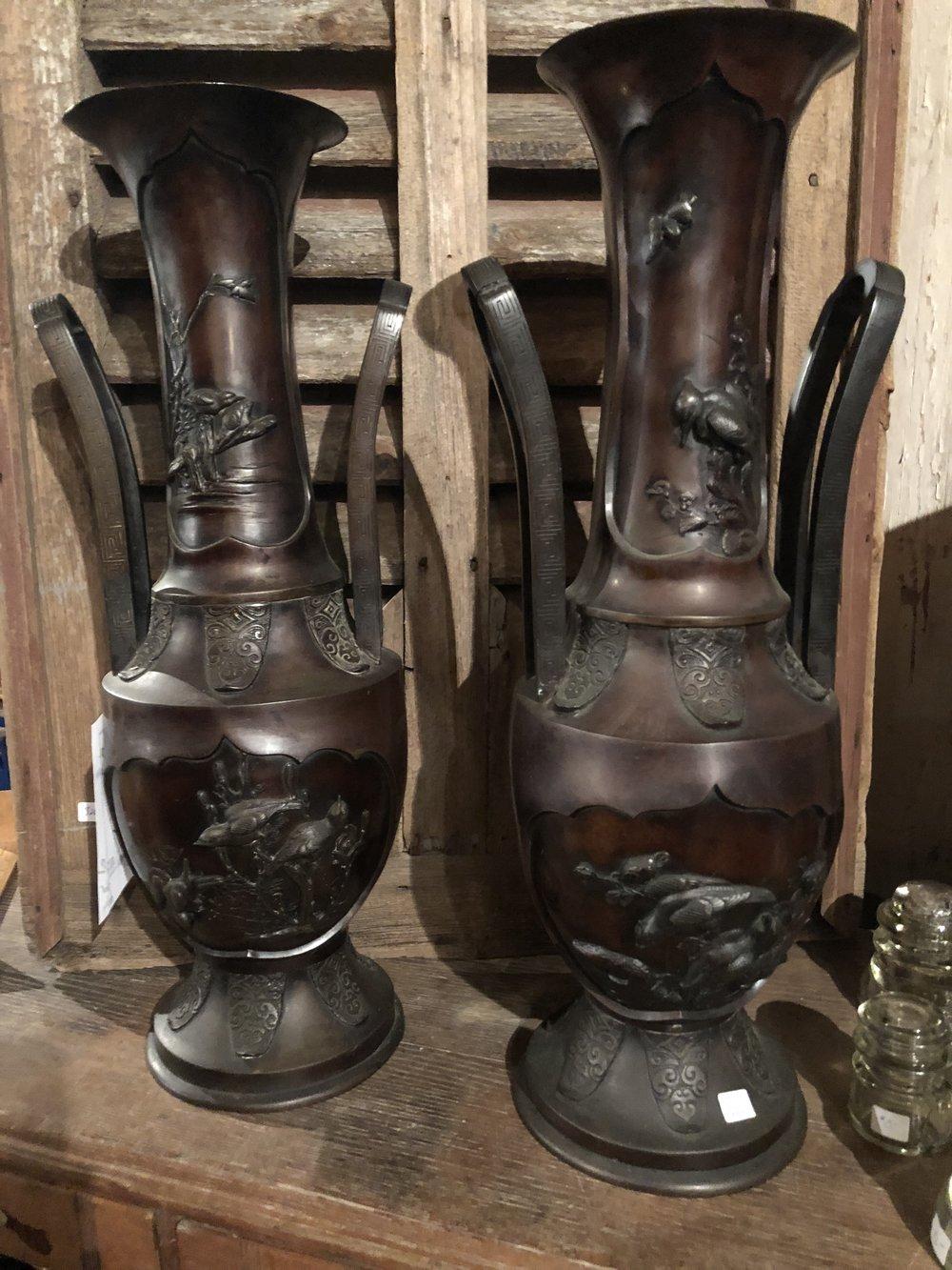Pair  Japanese Meiji Period Bronze Vases