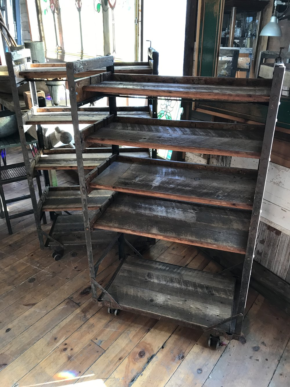 Antique Steel framed Shoe Racks with Casters