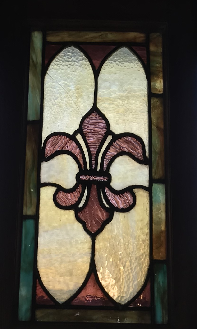 Very small antique Fleur de Lis window