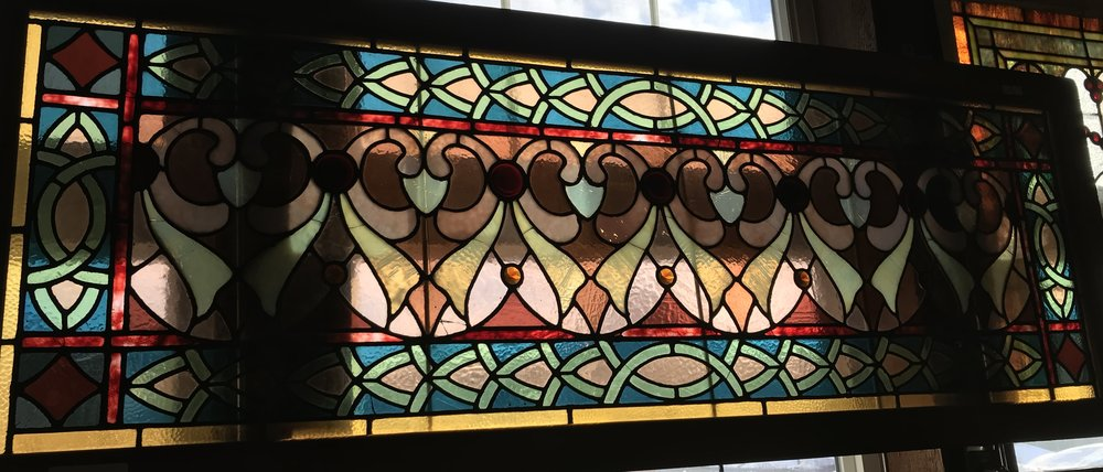 Large colorful stained glass window