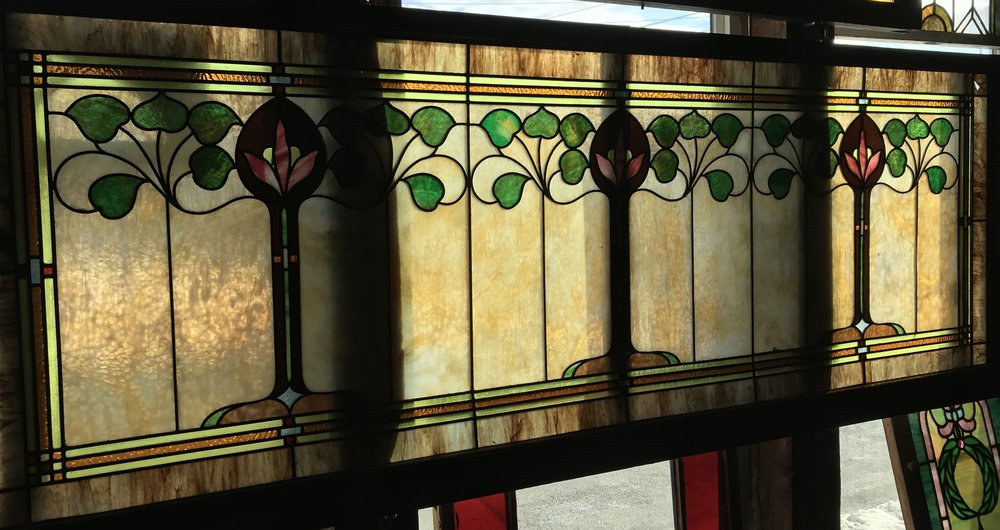 Oversized Art Nouveau Stained glass window