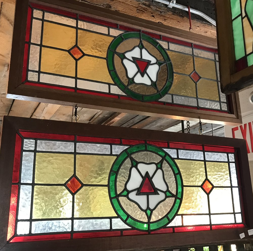 SOLD!!  Matched pair of Fraternal windows
