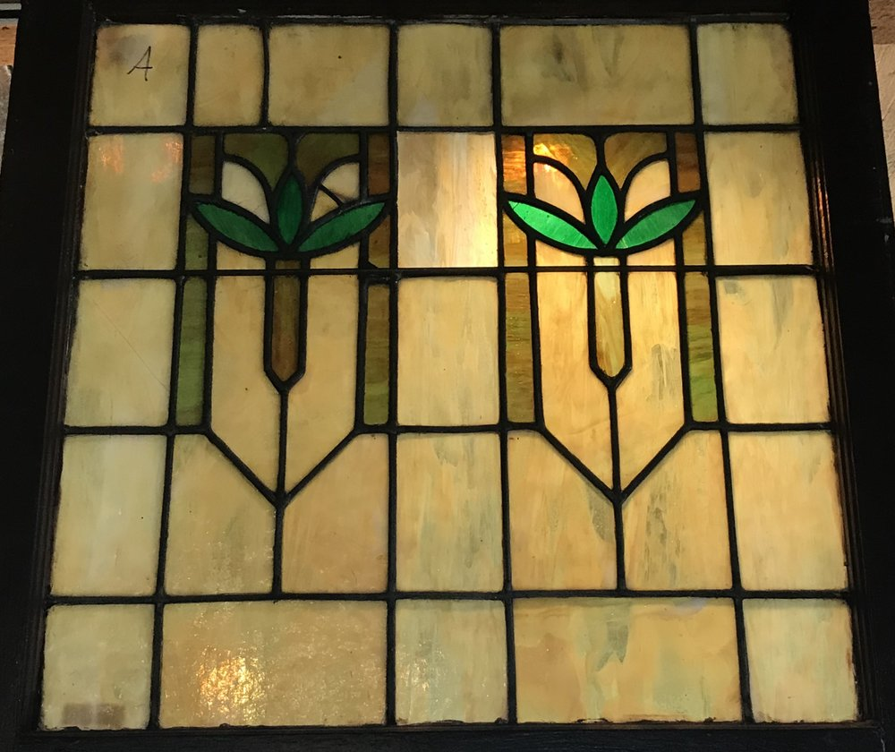 Arts and Crafts style slag glass window.
