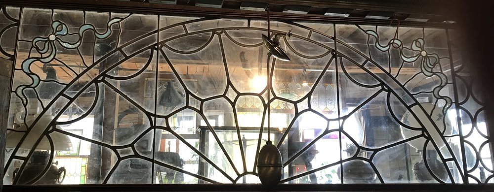 Oversized Colonial Revival Antique Leaded glass window.