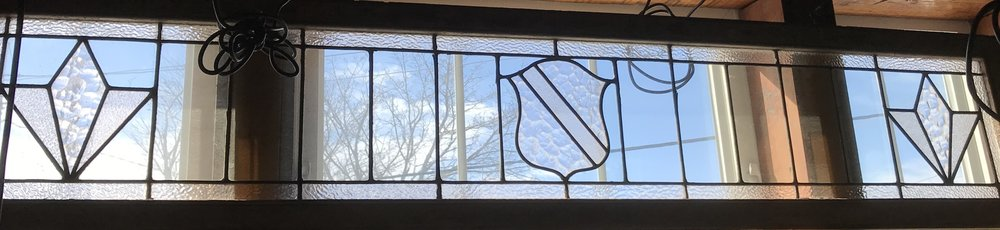 Long 1930's Leaded glass Transom
