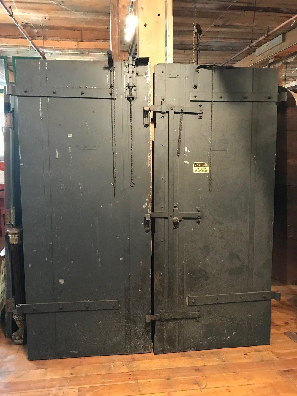 Pair Large Steel antique fire doors