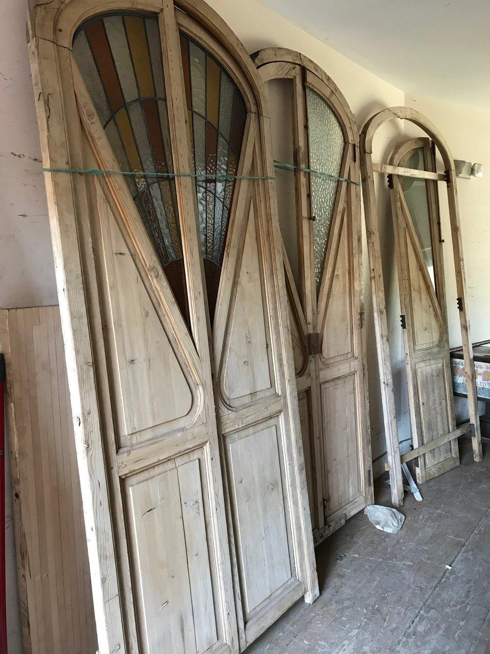 Antique Art Nouveau French doors