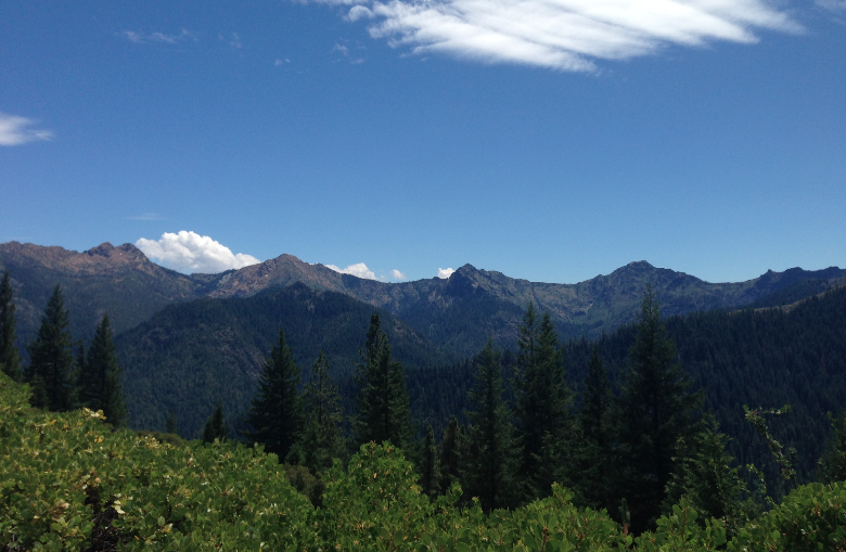 Siskiyou crest peaks, from left to right- Red Buttes, Kangaroo Mountain, Rattlesnake Mountain, and Mount Emily.