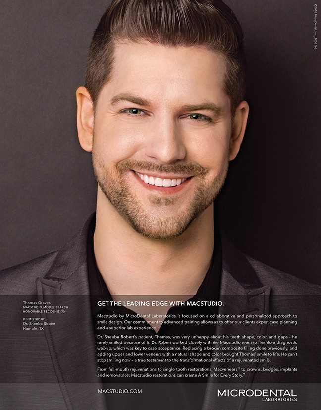 Featuring Thomas' handsome smile rejuvenation by Dr. Sheeba Robert, Humble, TX, our new Journal of Cosmetic Dentistry ad is out. Macstudio restorations by MicroDental Laboratories.