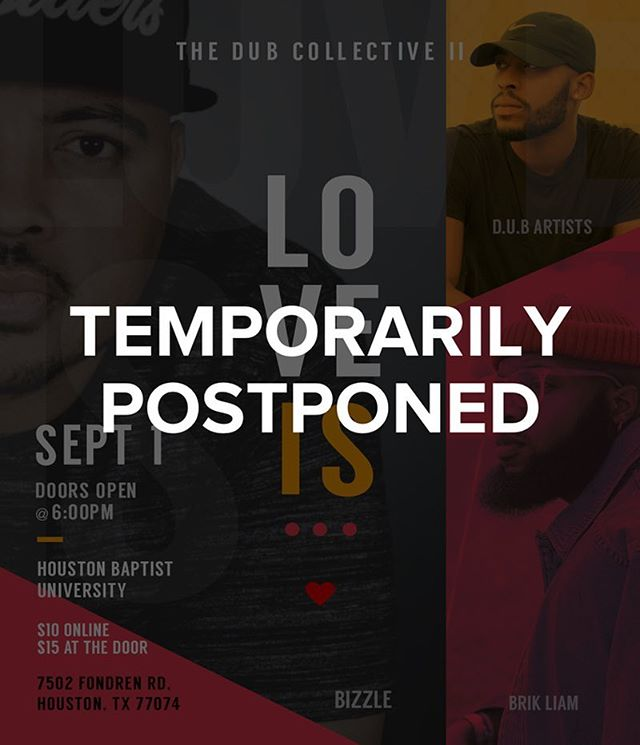 In light of Hurricane Harvey and it's following devestation, we are temporarily postponing the DUB Collective event. We pray everyone is safe and we will continue to serve our city in the meantime on the road to recovery. The Lord will use even a storm to bring people together for His glory. Details on schedule will come as soon as possible.