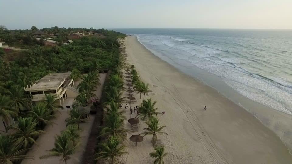 Location: Aerial shot of a beach hotel in Cap Skiiring Casamance in Senegal Photo Credit: footage.framepool.com