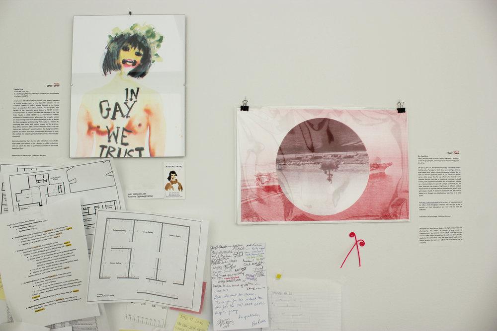 "Nadine Faraj,  In Gay We Trust ,2017 Cem Koçyıldırım,  Fleet of Warships  from the series ""News of the Month,"" 2017"