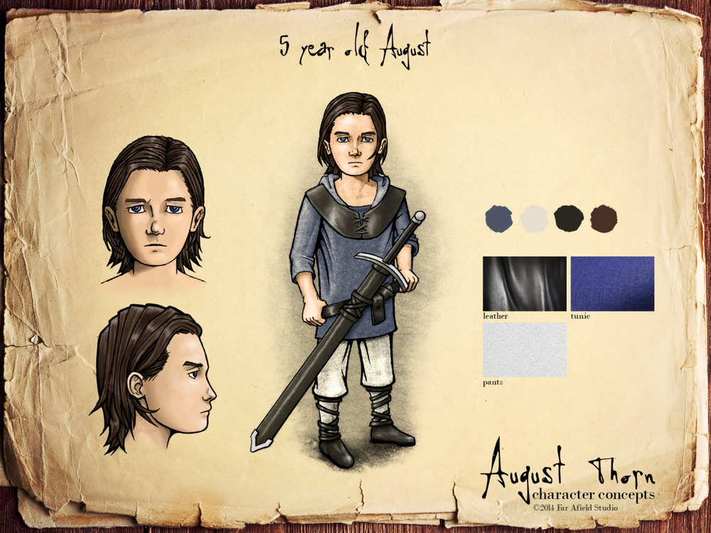 This is concept art for the main character from The August Thorn. Here we get to see him as a boy who is poised to inherit a title that he is ill prepared for. August Thorn is ©FarAfield