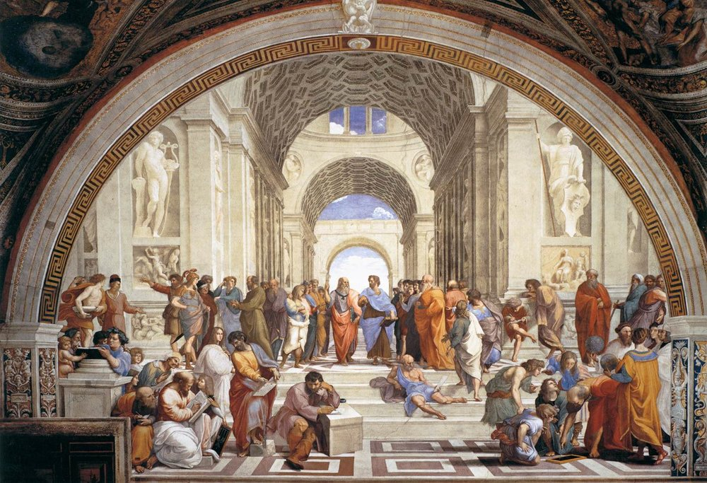 """The School of Athens"" by Raffaello Sanzio da Urbino.  Approximately 17' by 25' fresco painting, completed in 1511 in the Apostolic Palace at the Vatican in Rome, Italy. Painted during the High Renaissance, this mural is an excellent expression of it's ideals. Representing Philosophy, with Plato and Aristotle as the central figures, this mural expresses the renewed interest in ancient Greek philosophy. Raphael was only 27 when he completed this work, showing a remarkable command of the human figure. Notice the excellent use of linear perspective to create a believable space. The development of linear perspective is a hallmark of the Renaissance period."