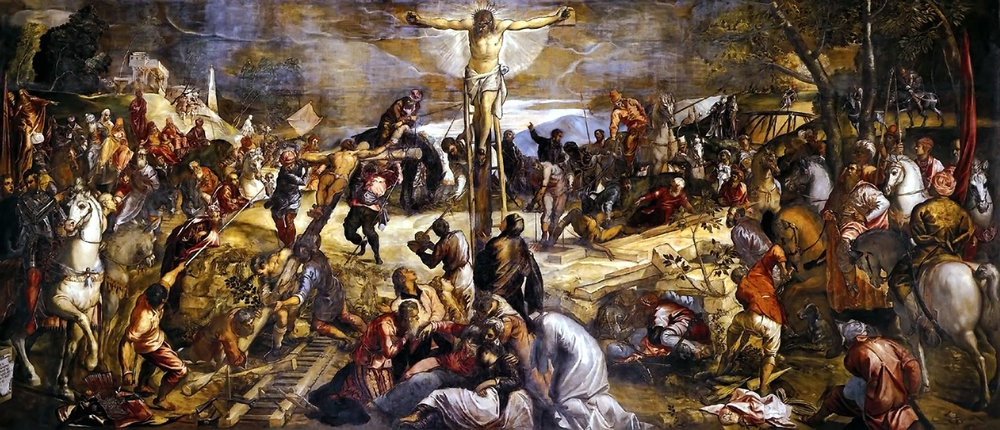 """The Crucifixion"",by Jacopo Tintoretto. In the Scuola Grande di San Rocco, Venice, Italy.  17x40 feet, 1565, oil on canvas attached to the wall. This is one of Tintoretto's most remarkable achievements. This is the largest, grandest and most dramatic of an entire patchwork of biblical scenes by him, which adorn the walls and the ceilings of this 16th-century scuola in Venice. The painting focuses on the dramatic moment when the Cross is being raised upright. A notable critic wrote of the stupendous Crucifixion: ""Surely no single picture in the world contains more of human life: there is everything in it, including the most exquisite beauty.""   His work is characterized by his muscular figures, dramatic gestures and bold use of perspective, in the Mannerist style. To help him with the complex poses he favored, Tintoretto used to make small wax models which he arranged on a stage and experimented on with spotlights for effects of light and shade and composition. He is a painter of the Venetian school and one of the most important artists of the late Renaissance. Increasingly concerned with the drama of light and space, he achieved a luminous visionary quality in his mature work.    More about the artist:  https://en.wikipedia.org/wiki/Tintoretto  More about the painting:  https://www.independent.co.uk/arts-entertainment/art/great-works/great-works-the-crucifixion-1565-518cm-x-1224-cm-tintoretto-2270951.html"