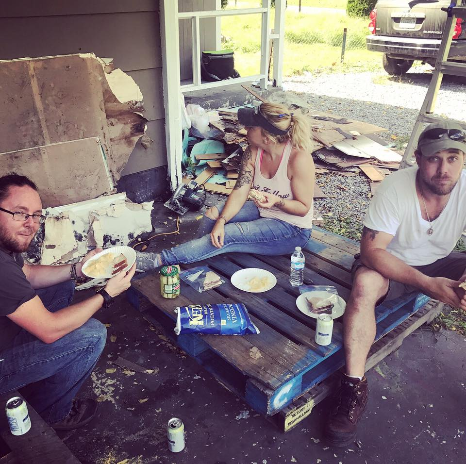 "Big thank you to our friends, Adam and Nicole who came from NJ to help with the ""house project""! This is the dream team right here!"