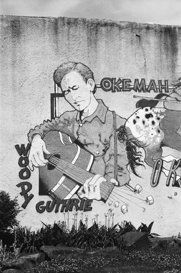 Woody Guthrie mural -Okema, Oklahoma