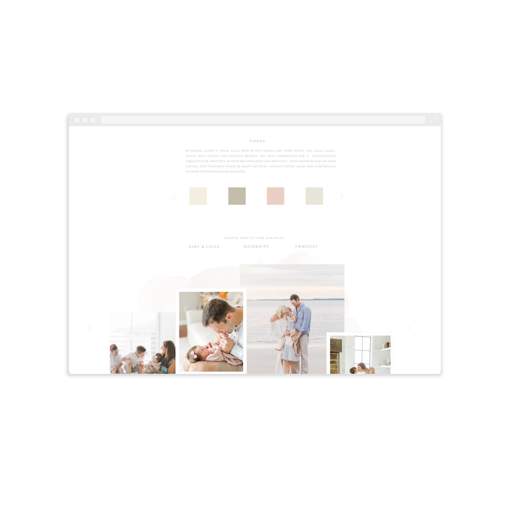 What to Wear page for Corey Johnson Photography - Built with Showit5 - By Magnolia Creative Studio