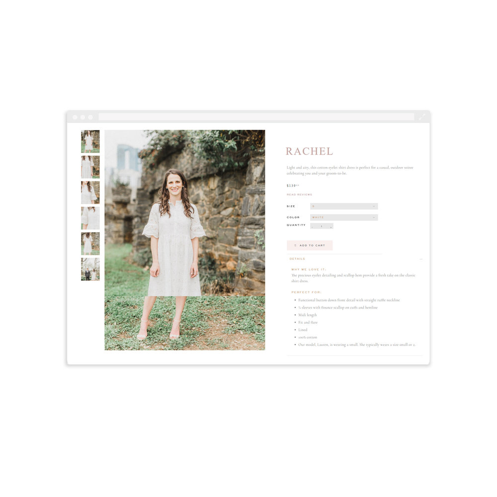 Product Page for Eternal Ivory - Built with Shopify - By Magnolia Creative Studio