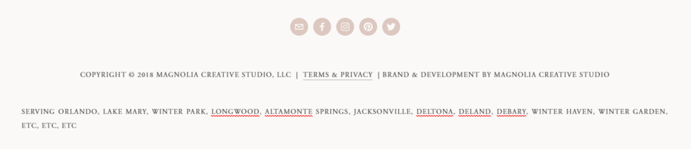 Example of keyword stuffing in the footer area of a website