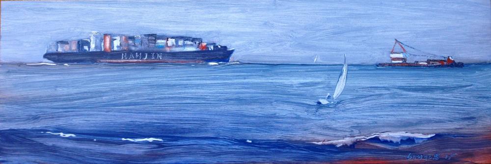 """hanjin (sold)    oil on board    6""""x18"""""""