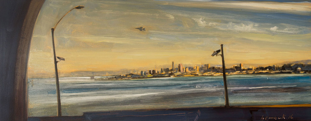 """a new day    oil on board    30""""x12"""""""
