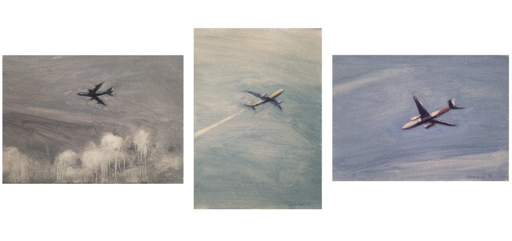 "3 small studies    oil on paper    9""x6"" ea."
