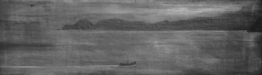 "untitled   conte crayon on board  14""x 47"""