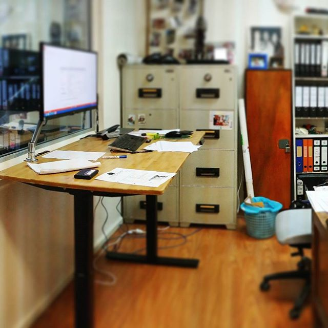 Kicking #deskgoals! Improving focus, comfort and better health in a busy office  #readysetstand #standingdesks #startupsaus #bamboodesk