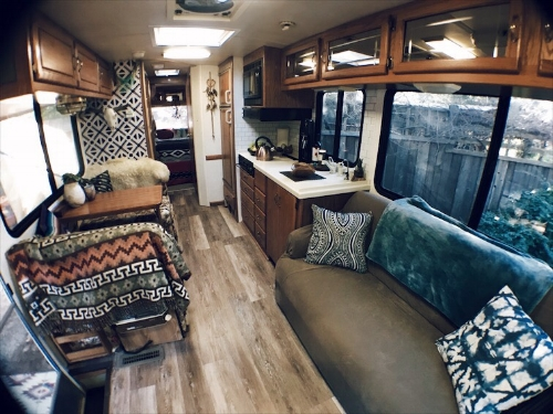 Our tiny home on wheels remodeled! Blood, sweat, and tears not included in photo.