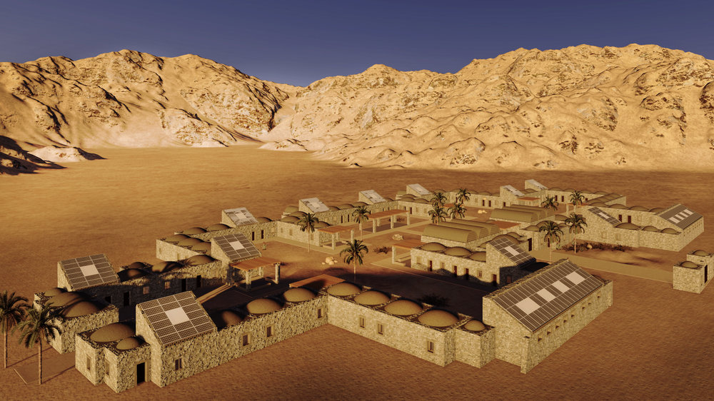 Rendering of Tayebat Workers Village courtesy KarmSolar