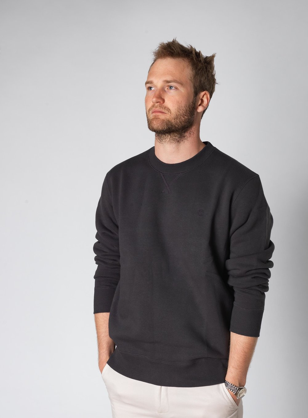 Tom Cridland models the 30 Year Sweatshirt. Image courtesy of Tom Cridland