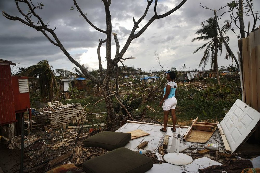 A woman surveys Hurricane Maria's damage in Puerto Rico. Photo by Mario Tama/Getty Images News / Getty Images