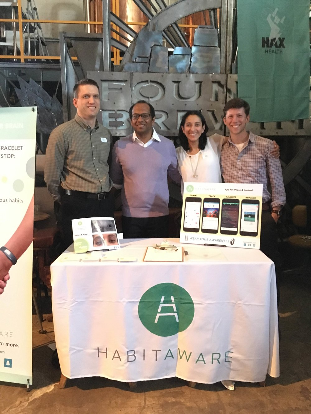 Kumar and the HabitAware team in 2016. Image courtesy of HabitAware