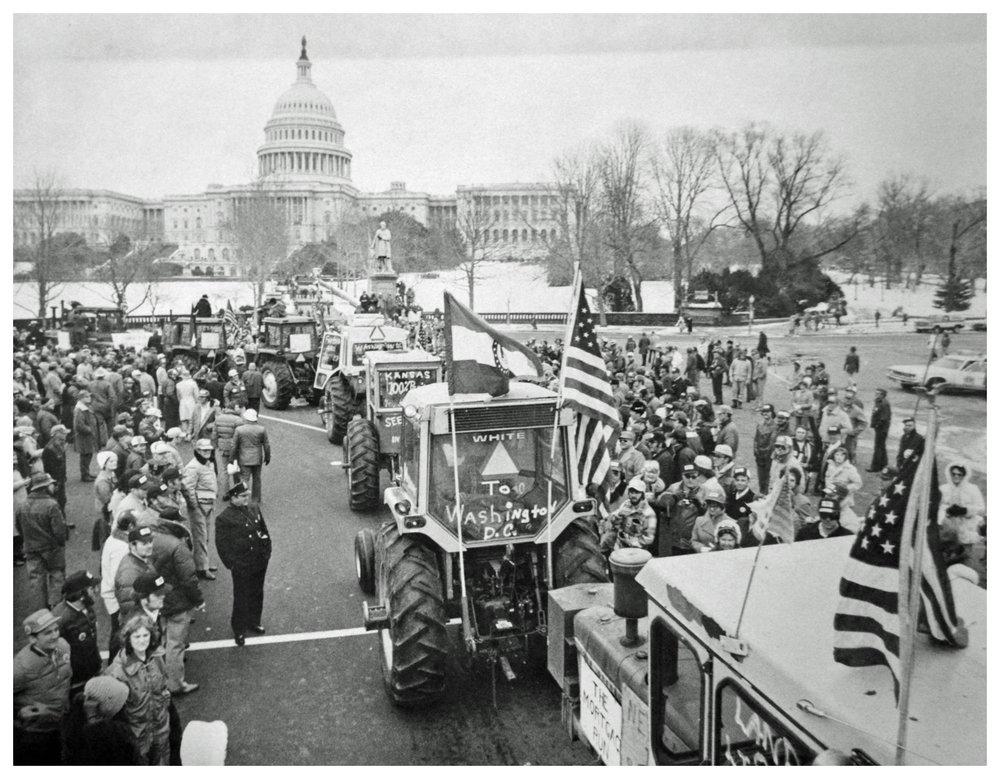 Farmers' tractorcade protest on Washington, D.C., in 1978. Photo via D.C. Public Library Washington Star Collection