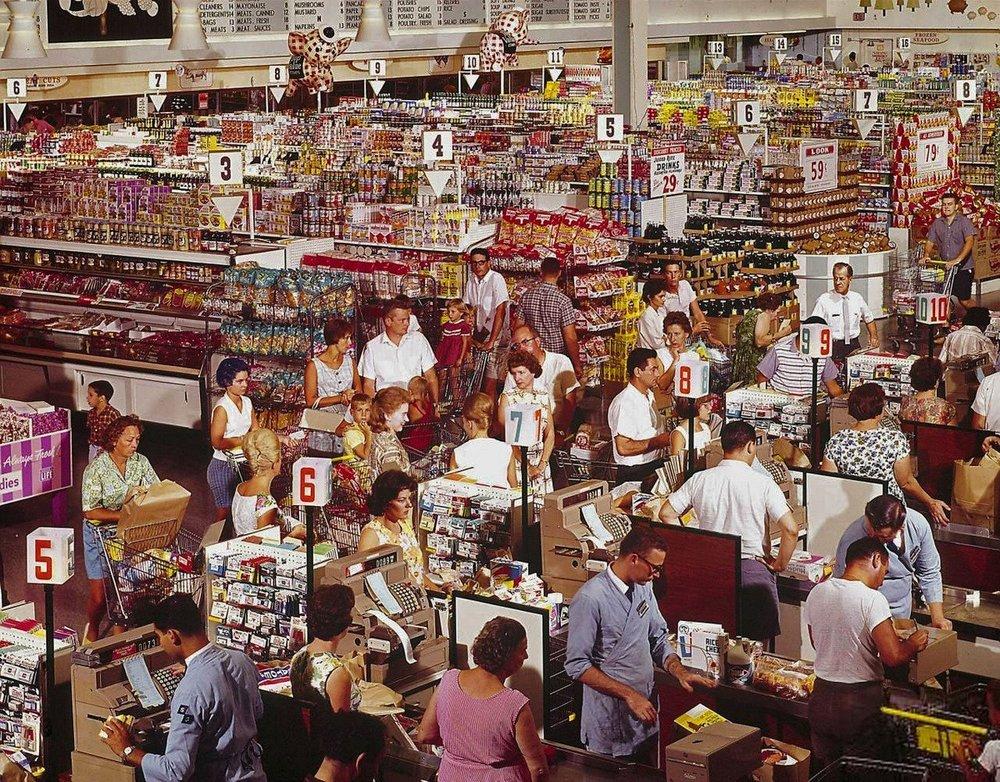A supermarket in 1964. Photo via imgur.