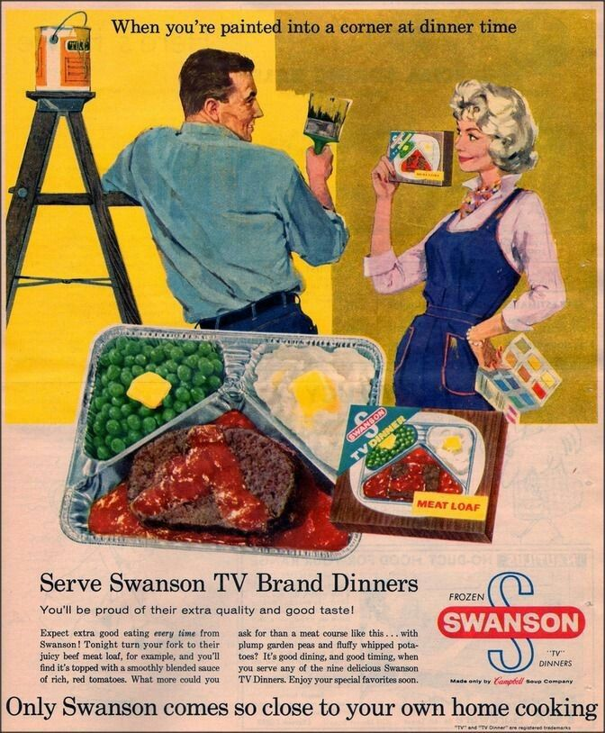 An ad for Swanson TV dinners for the home oven.