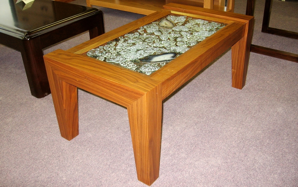 Charming Custom Designed Wood Coffee Table Art Glass Top.